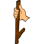 Wood stick in hand vector clip art