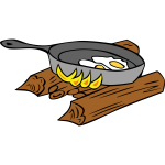 Eggs baked on campfire vector drawing