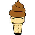 Chocolate ice cream in cone vector image