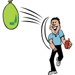 Vector clip art of water balloon fight