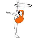 Vector drawing of rhythmic gymnastics with bow