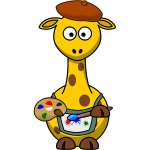 Painter giraffe vector illustration