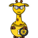 Vector image of cyclist giraffe