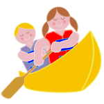 Girl And Boy Rowing In Canoe