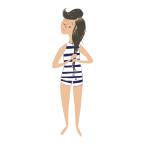 Cartoon girl after swim