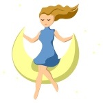 Girl On Crescent Moon