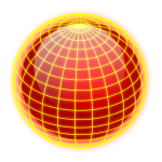 Vector drawing of orange and yellow wired globe