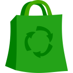 Green shopping bag vector icon