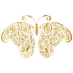 Gold Floral Flourish Butterfly Silhouette No Background