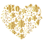 Gold Floral Heart No Background