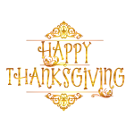 Gold Happy Thanksgiving Typography Variation 2 No Background