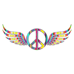Gold Peace Sign Wings Psychedelic No Background