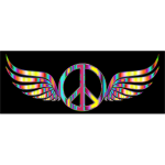 Gold Peace Sign Wings Psychedelic