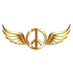 Gold Peace Sign Wings With Drop Shadow
