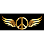 Gold Peace Sign Wings