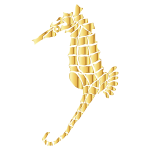 Gold Stylized Seahorse Silhouette No Background