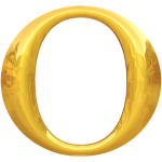 Letter O in gold