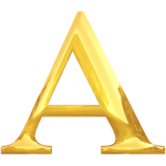 Letter A in gold