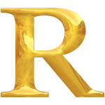 Gold typography R