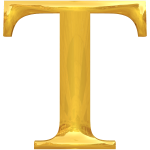 Letter T in gold
