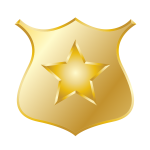 Gold police badge vector drawing