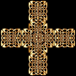 Golden Celtic knot in cross