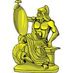 Golden statue of king warrior