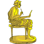 Golden statue with writer
