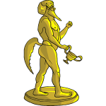 Golden mythical creature statue