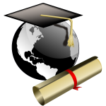 Graduate student hat and degree vector image
