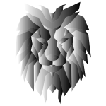 Grayscale Polygonal Lion Face