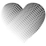 Grayscale Wavy Heart No Background