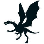 Green dragon silhouette
