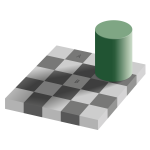 Optical illusion with checkerboard