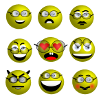 Smileys with glasses
