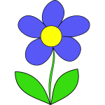 Vector drawing of blue color flower