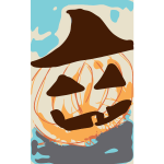 Halloween pumpkin in straw hat