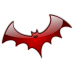 Red Halloween bat vector clip art