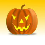 Vector illustration of Halloween pumpkin on yellow background
