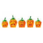 Selection of Halloween pumpkin vector illustration