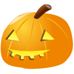 Lit-up Halloween pumpkin vector drawing