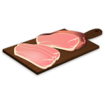 Ham on a chopping board