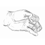 Sketched hand of a man