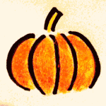 Pencil drawn pumpkin vector image