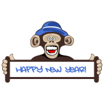 ''Happy New Year'' sign and monkey