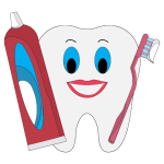 Happy Tooth With Toothpaste And Brush
