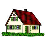 Coloured line art vector drawing of hoose