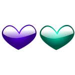 Purple and green hearts