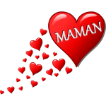 Hearts for Mom in French vector illustration