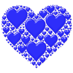 Vector image of blue heart made out of many small hearts